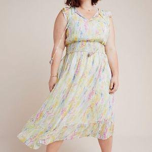Anthropologie Watercolor Midi Dress